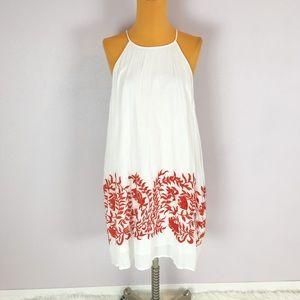 Lucky Brand White Orange Embroidered Gauze Dress
